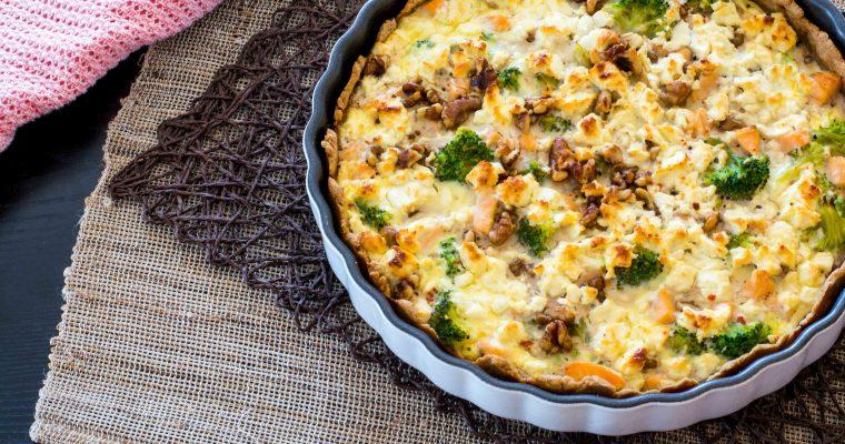 Dinkel-Quiche mit Lachs und Brokkoli