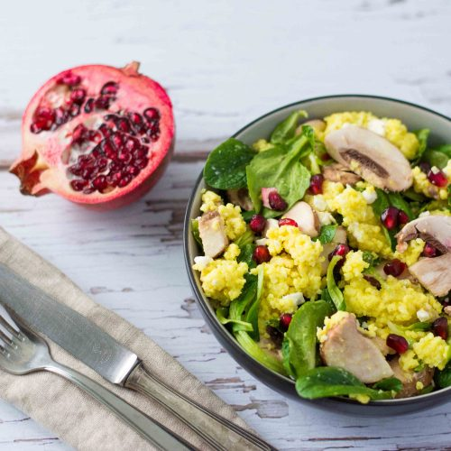 Hirsesalat Champignons Granatapfel gesund