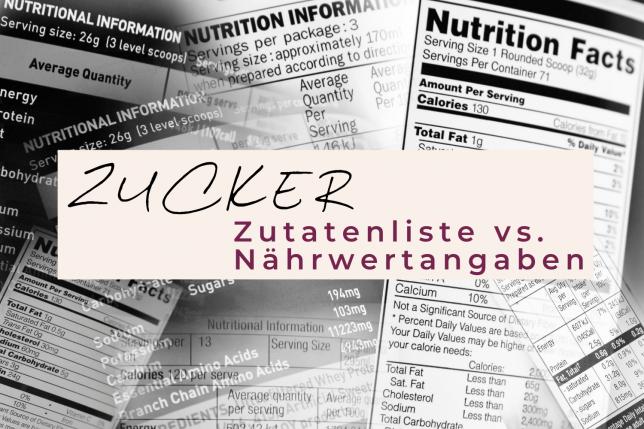 Zucker Zutatenliste Nährwertangaben