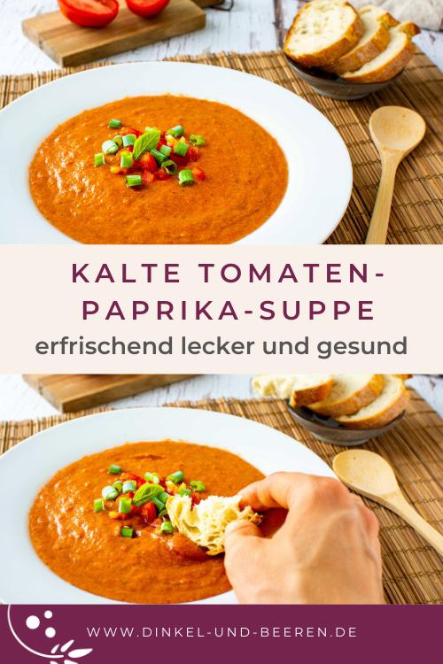 Kalte Tomaten-Paprika-Suppe gesund einfach