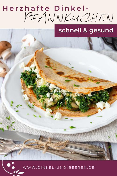 Herzhafte Dinkelpfannkuchen Spinat Champignons