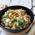 Vegane One Pot Pasta Spinat Champignons