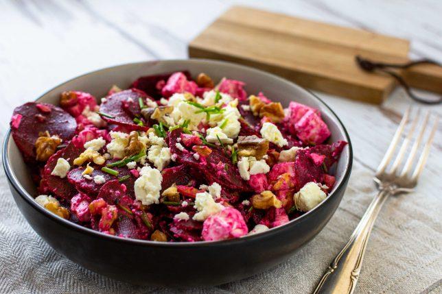 Rote Bete Salat Feta Walnüsse gesund schnell