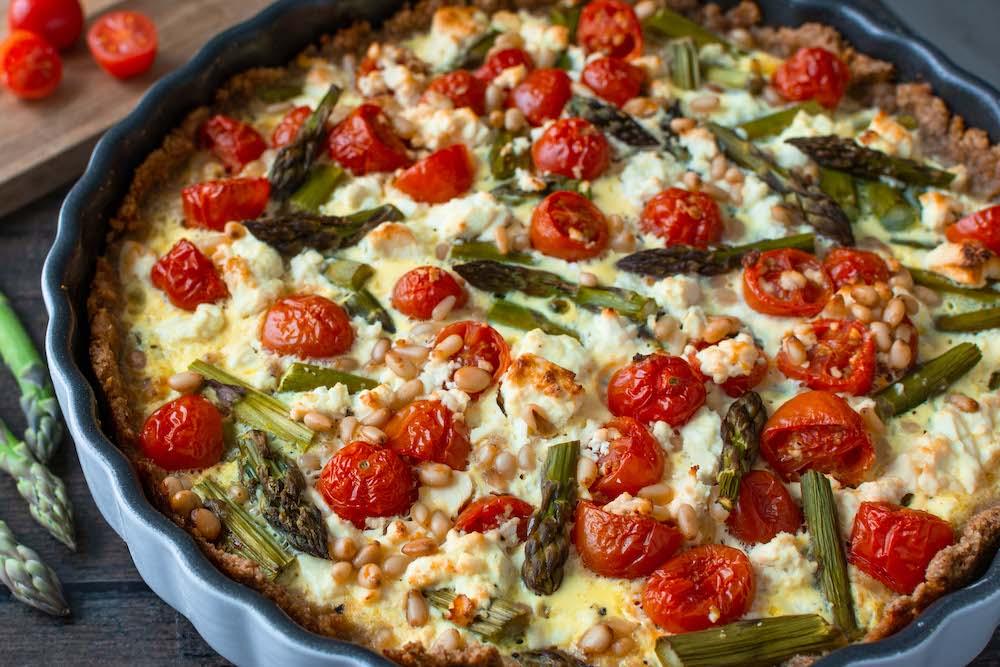 Spargel-Quiche mit Tomaten Vollkorn gesund