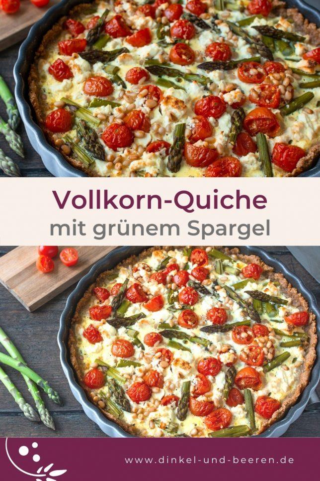 Vollkorn-Quiche mit grünem Spargel und Tomaten gesund