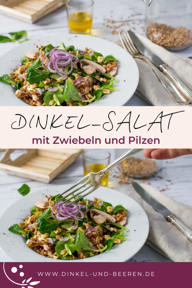 Dinkel-Salat mit Zwiebeln und Pilzen