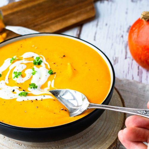 Kürbis-Süßkartoffel-Suppe gesund vegan glutenfrei