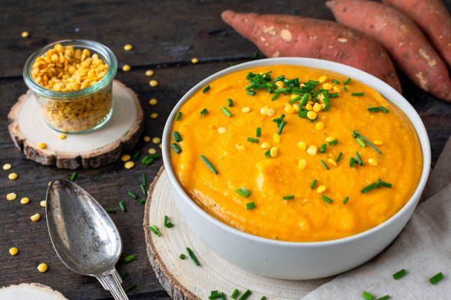 Süßkartoffel-Linsen-Suppe gesund vegan glutenfrei