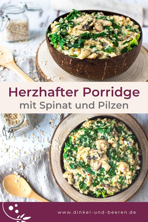 Herzhafter Porridge Spinat Champignons gesund