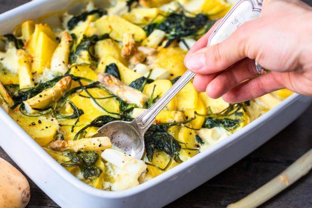 Kartoffel-Spargel-Auflauf gesund ohne Käse