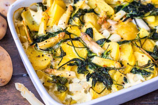 Kartoffel-Spargel-Auflauf vegetarisch vegan gesund
