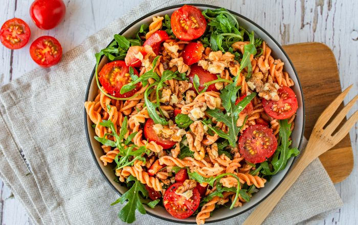Nudelsalat Linsennudeln gesund vegan vegetarisch glutenfrei