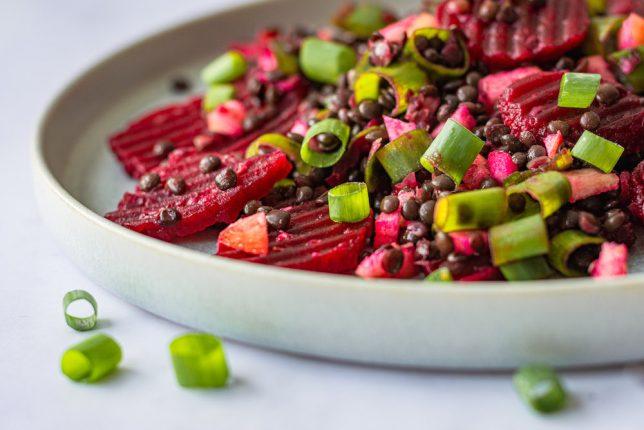Rote Bete Beluga Linsen Salat Apfel vegan glutenfrei gesund Rezept